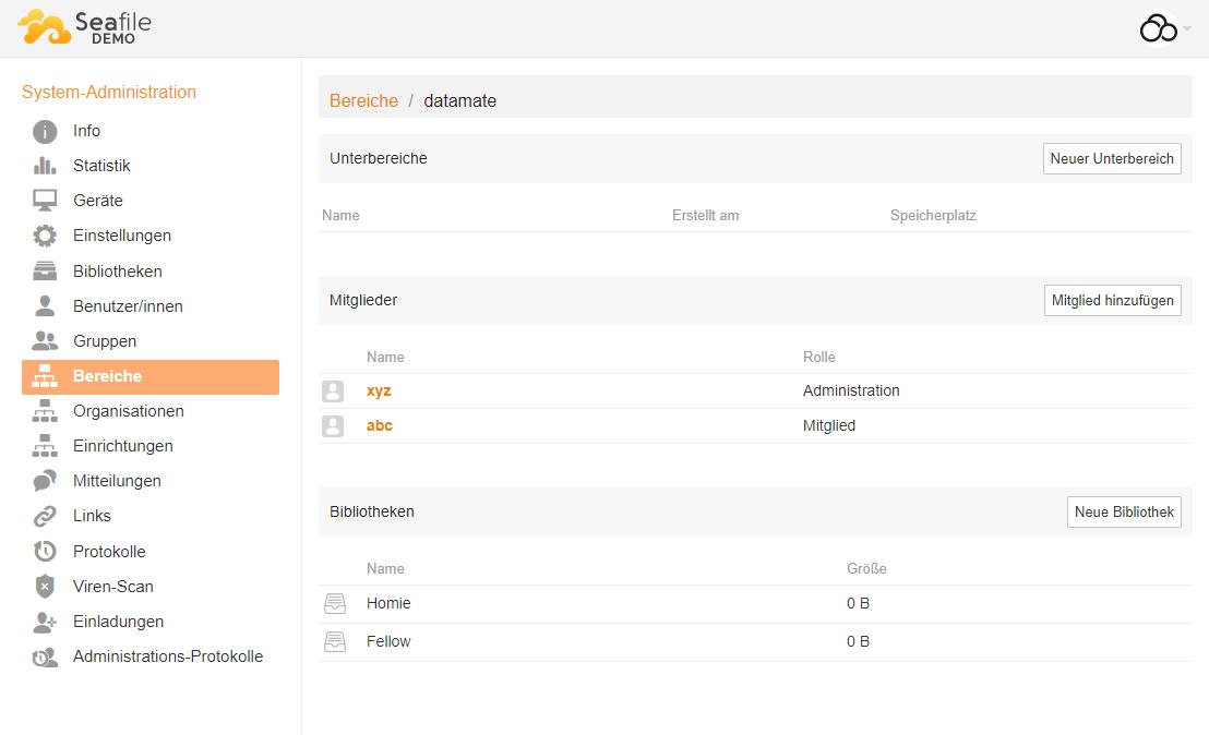 Verwaltung von Bereichen über das Seafile Webinterface Seahub