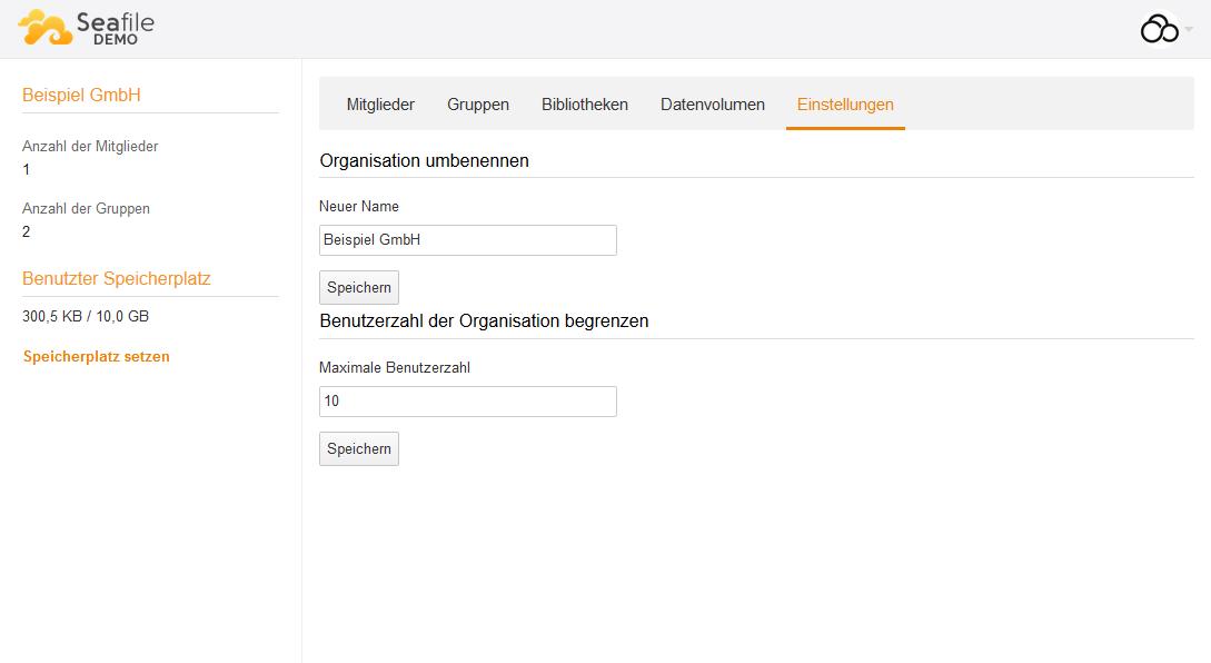 Verwaltung von Organisationen über das Seafile Webinterface Seahub