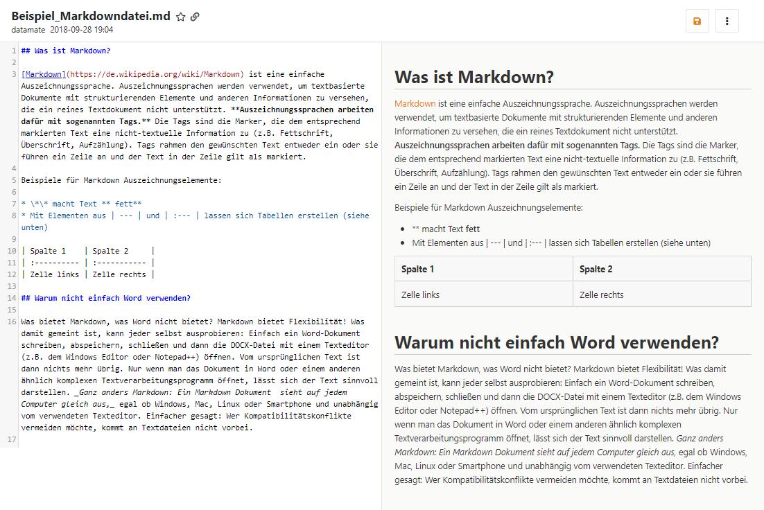 Markdown Dateien im Plain Text anzeigen und bearbeiten