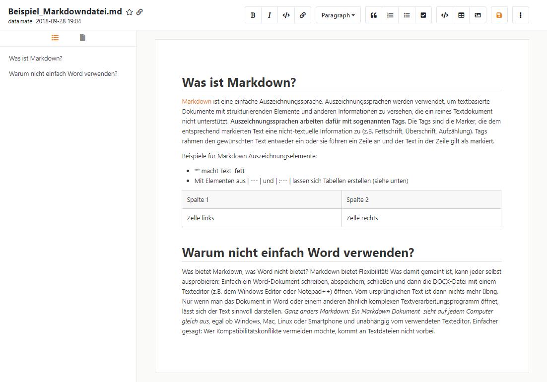Markdown Dateien online bearbeiten