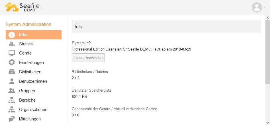 Upload einer Seafile Lizenzdatei über das Webinterface Seahub
