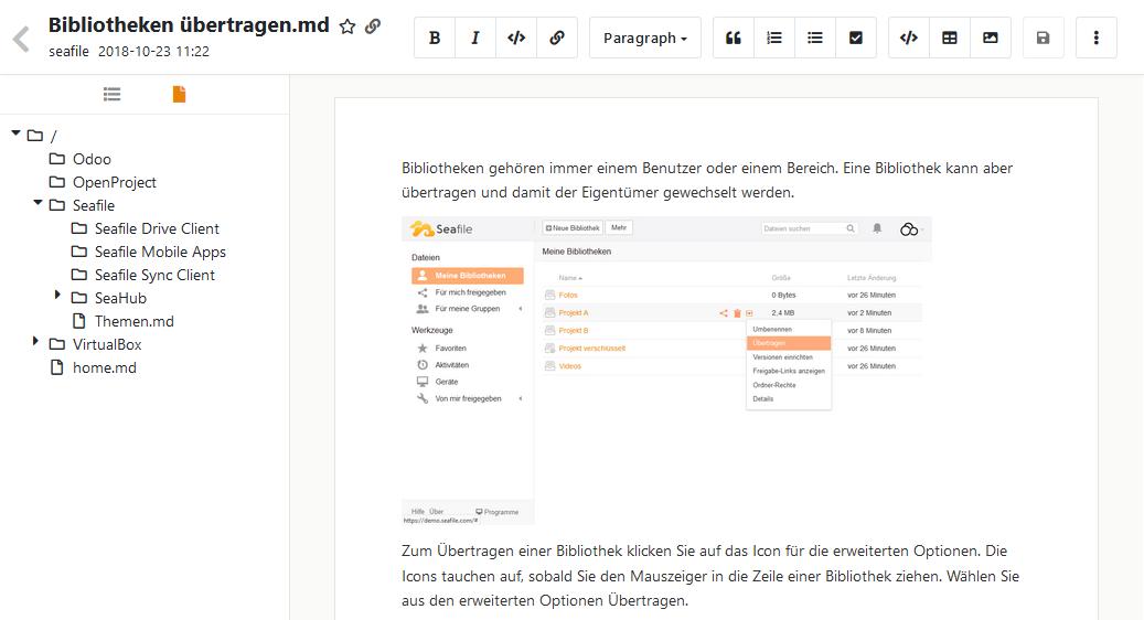 Wiki Bearbeitung im Markdown-Editor