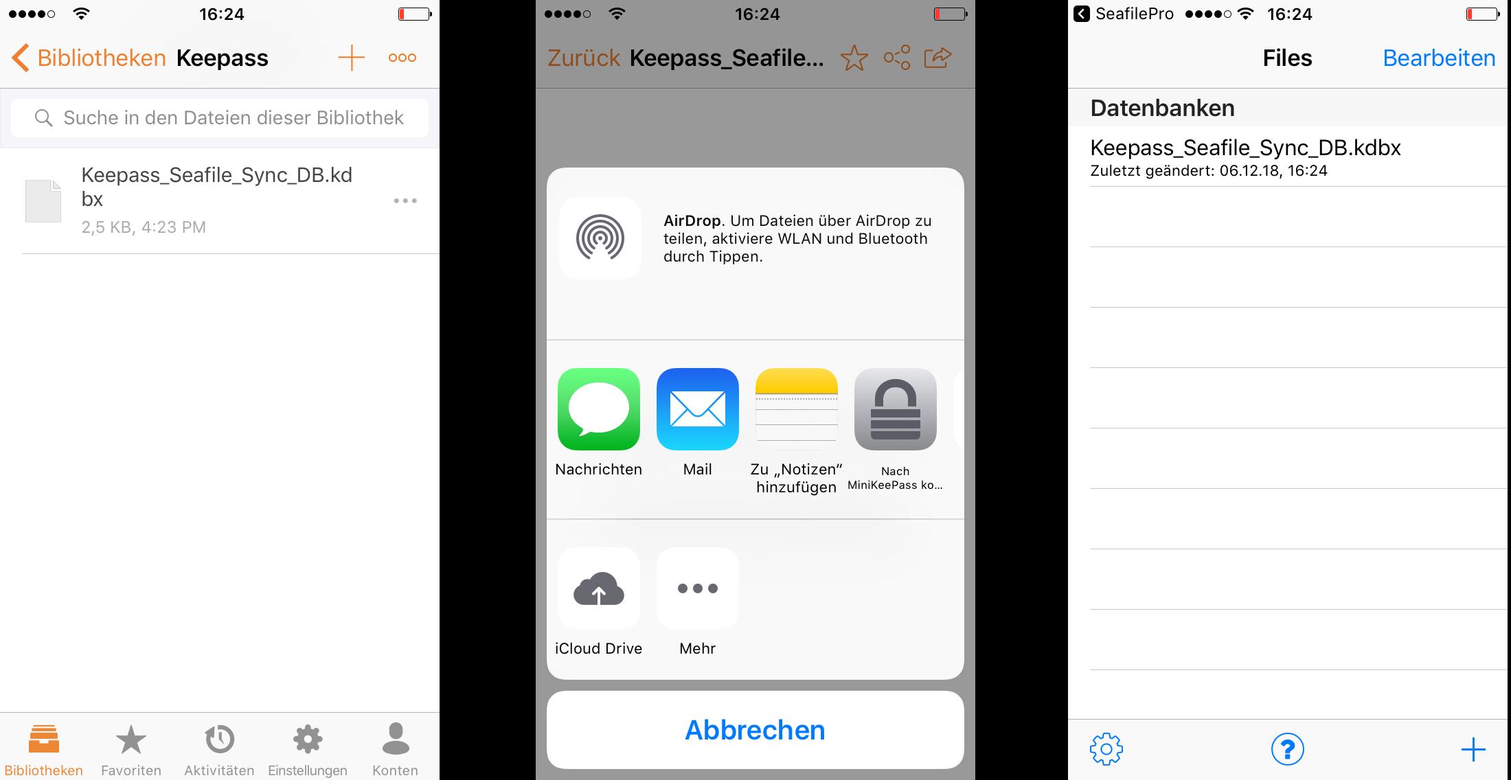 Zugriff auf KeePass Datenbankdatei über Seafile