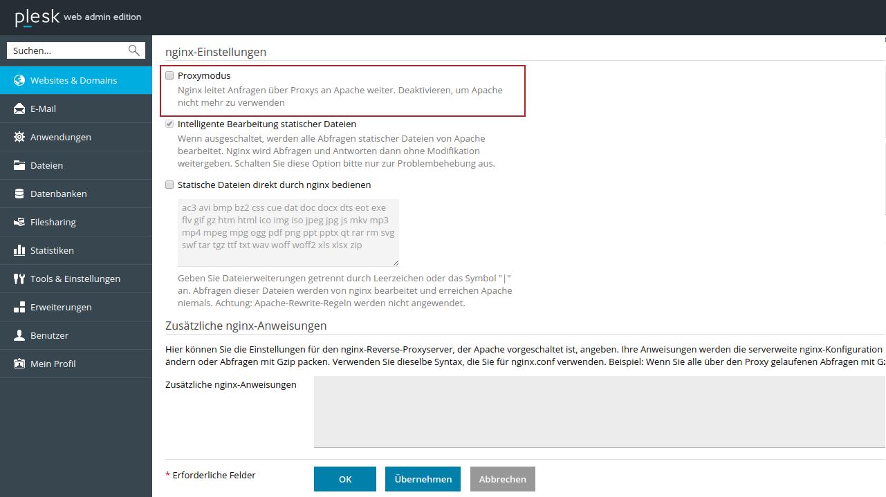 Der Proxymodus in Plesk muss für Seafile deaktiviert werden