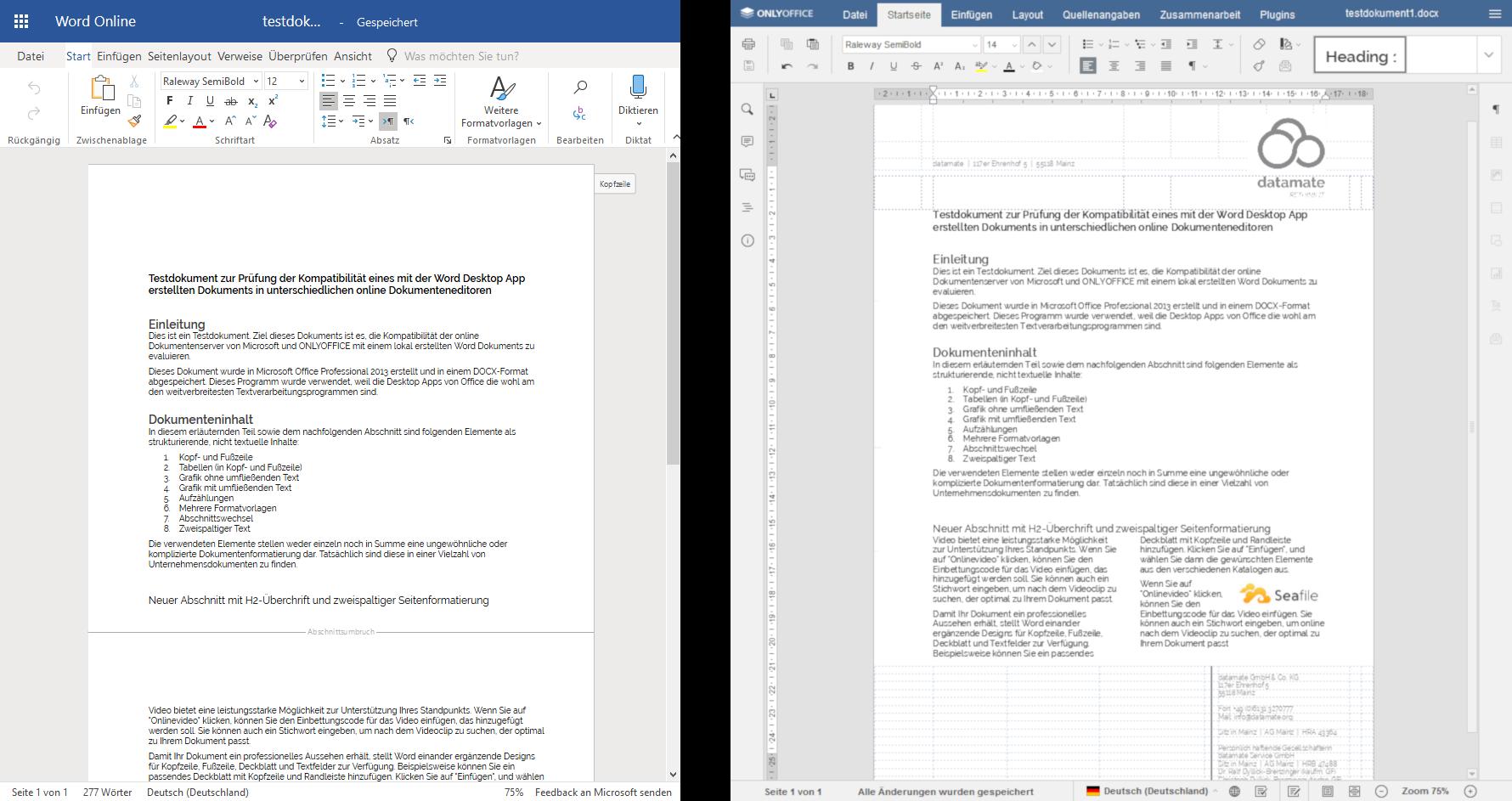 Testdokument in Word Online und ONLYOFFICE