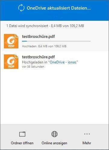 OneDrive Upload nach kleiner Dateiänderung