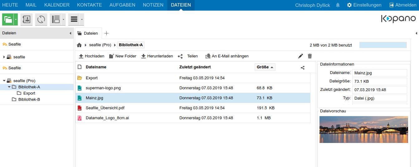 Dateizugriff und File Sharing mit Hilfe des Seafile Plugins für Kopano