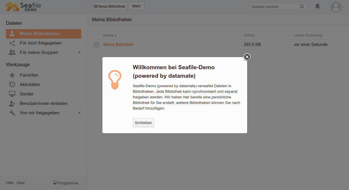 Seafile Welcome Popup ohne Video