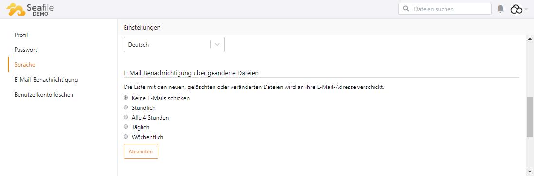 E-Mail Benachrichtigungen für Aktivitäten können in den Benutzereinstellungen abonniert werden