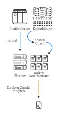 Schematische Darstellung der Replikation mit dem Seafile CLI Client