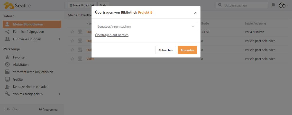 Bibliothek auf anderen Benutzer übertragen