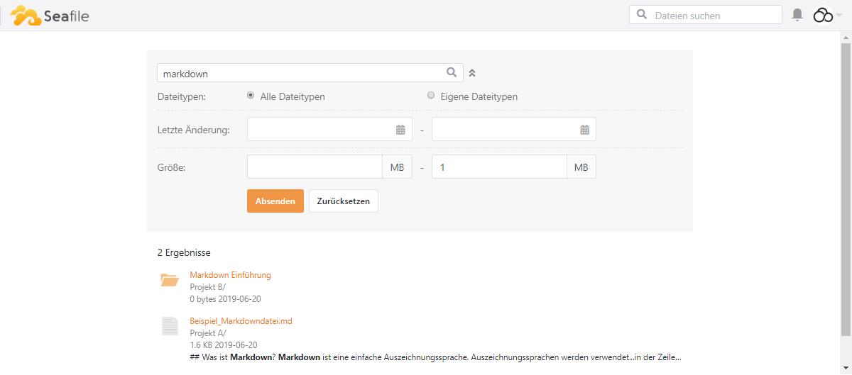 Dateien und Inhalte mit erweiterten Suchoptionen suchen