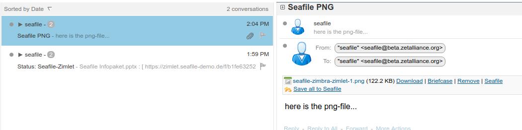 Zimbra und die Möglichkeit zur Speicherung von E-Mail-Anhänge in Seafile