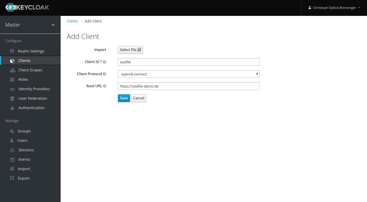 Neuen Client in Keycloak hinzufügen