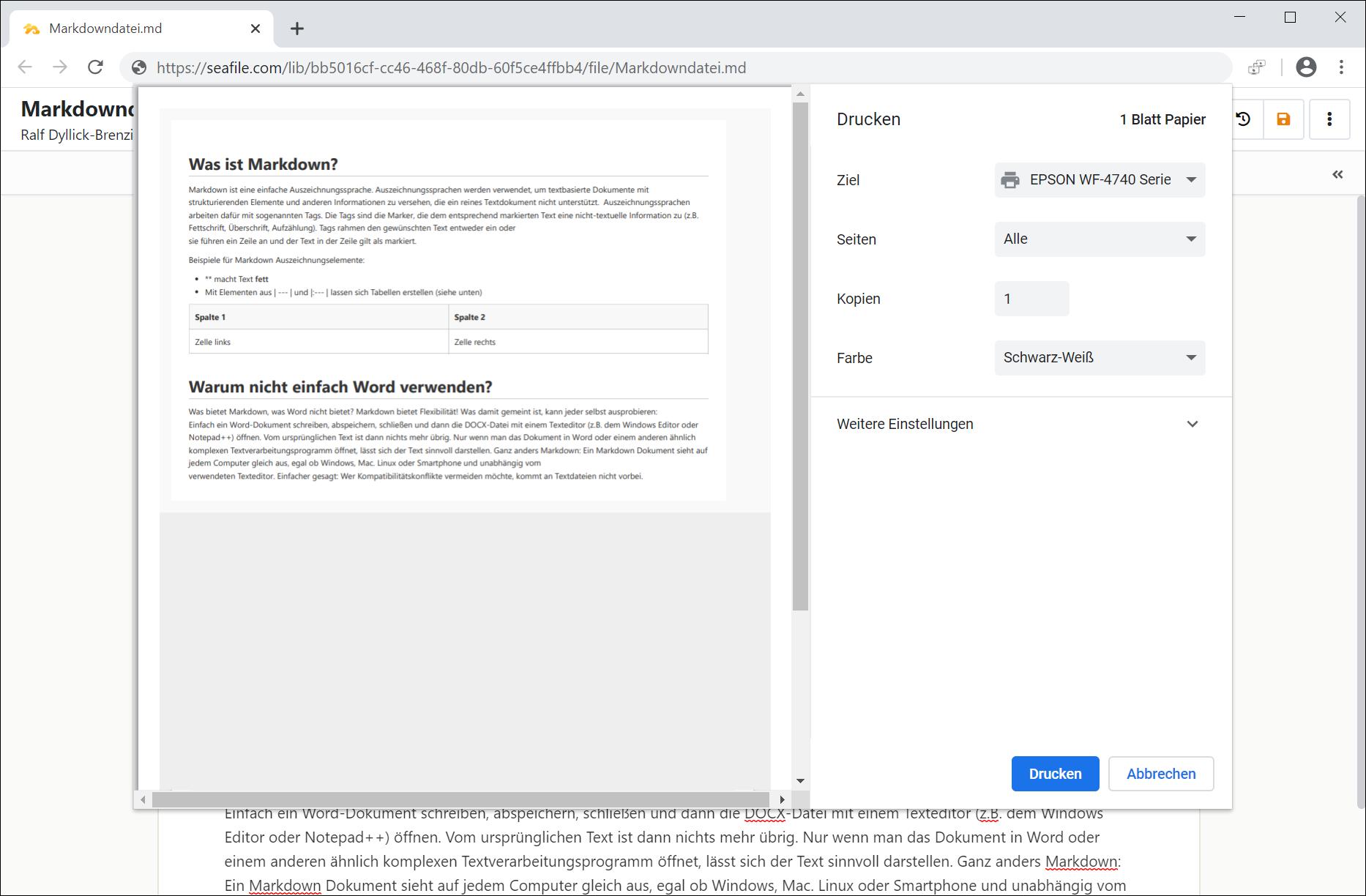Komfortabler Druck von Markdown Dateien per Webinterface