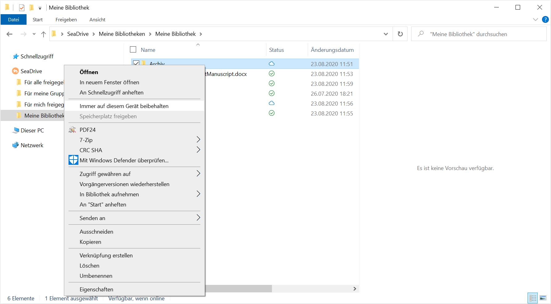 SeaDrive für Windows unterstützt selektive Synchronisation