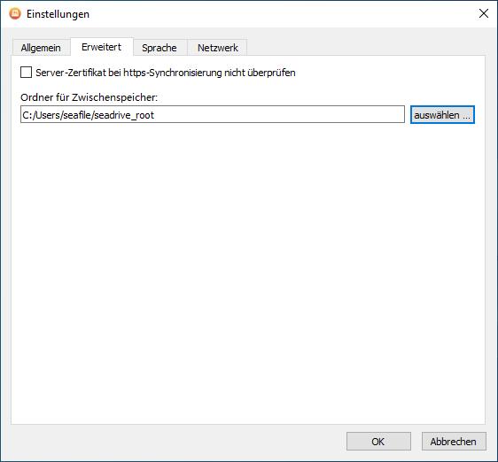 Im Tab Erweitert wird der Speicherort des lokalen Caches und die Validierung von SSL-Zertikaten konfiguriert