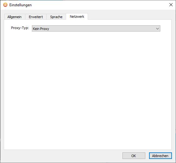 Im Tab Netzwerk lässt sich ein Proxy konfigurieren