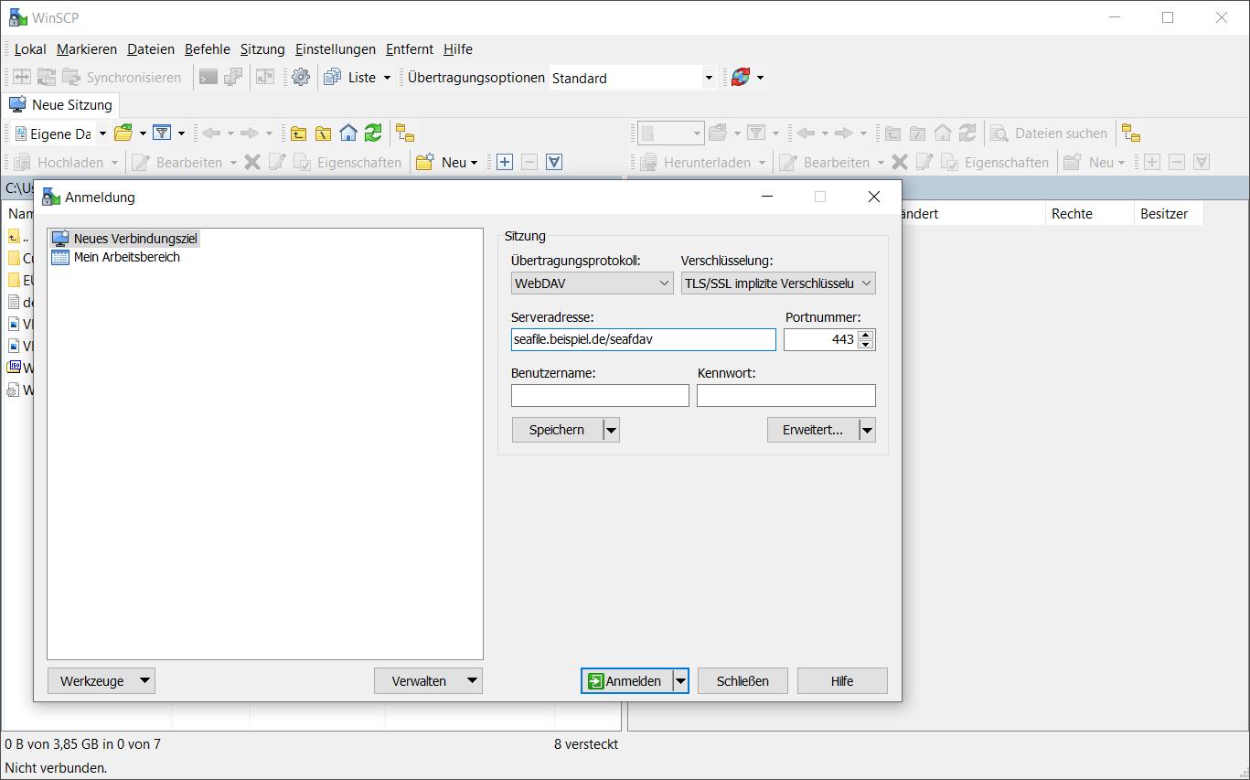 WebDAV-Zugriff auf Seafile Server über eine Beispiel-URL mit WinSCP