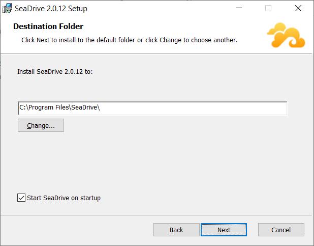 SeaDrive hat einen graphischen Installationsassistenten