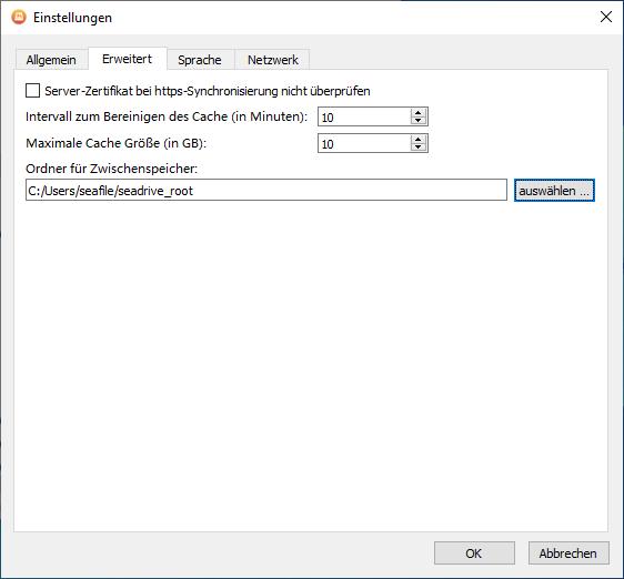 Im Tab Erweitert wird die Validierung von SSL-Zertikaten und der lokale Zwischenspeicher konfiguriert
