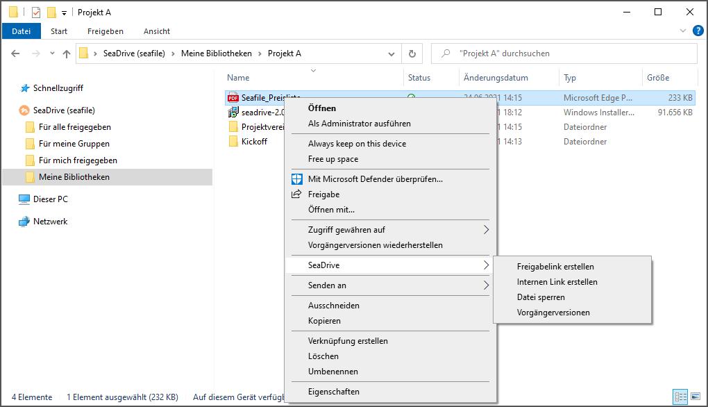 Über das Kontextmenü des Windows Explorers lassen sich Links erstellen