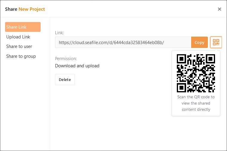 Seahub erstellt einen QR-Code für jeden Freigabe-Link
